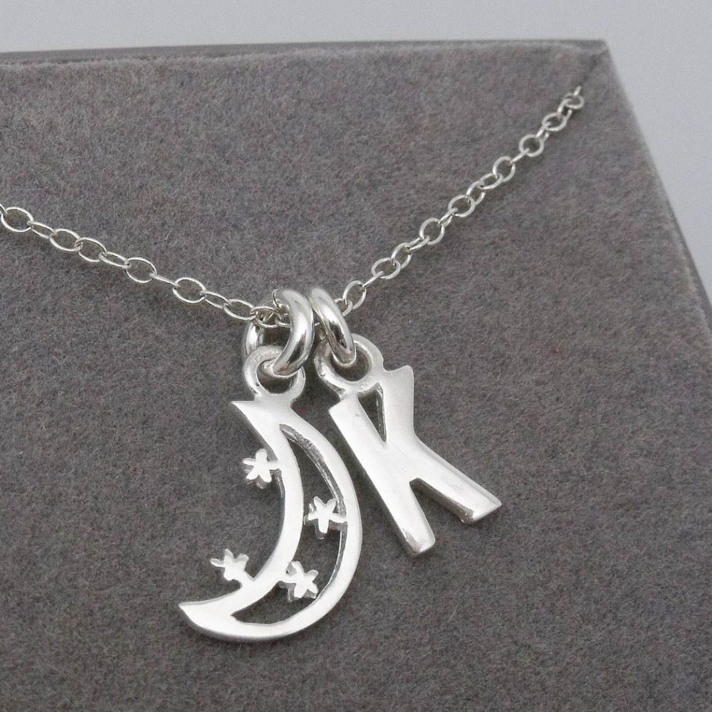 Sterling Silver Crescent Moon Pendant Necklace Personalised Monogram Initial